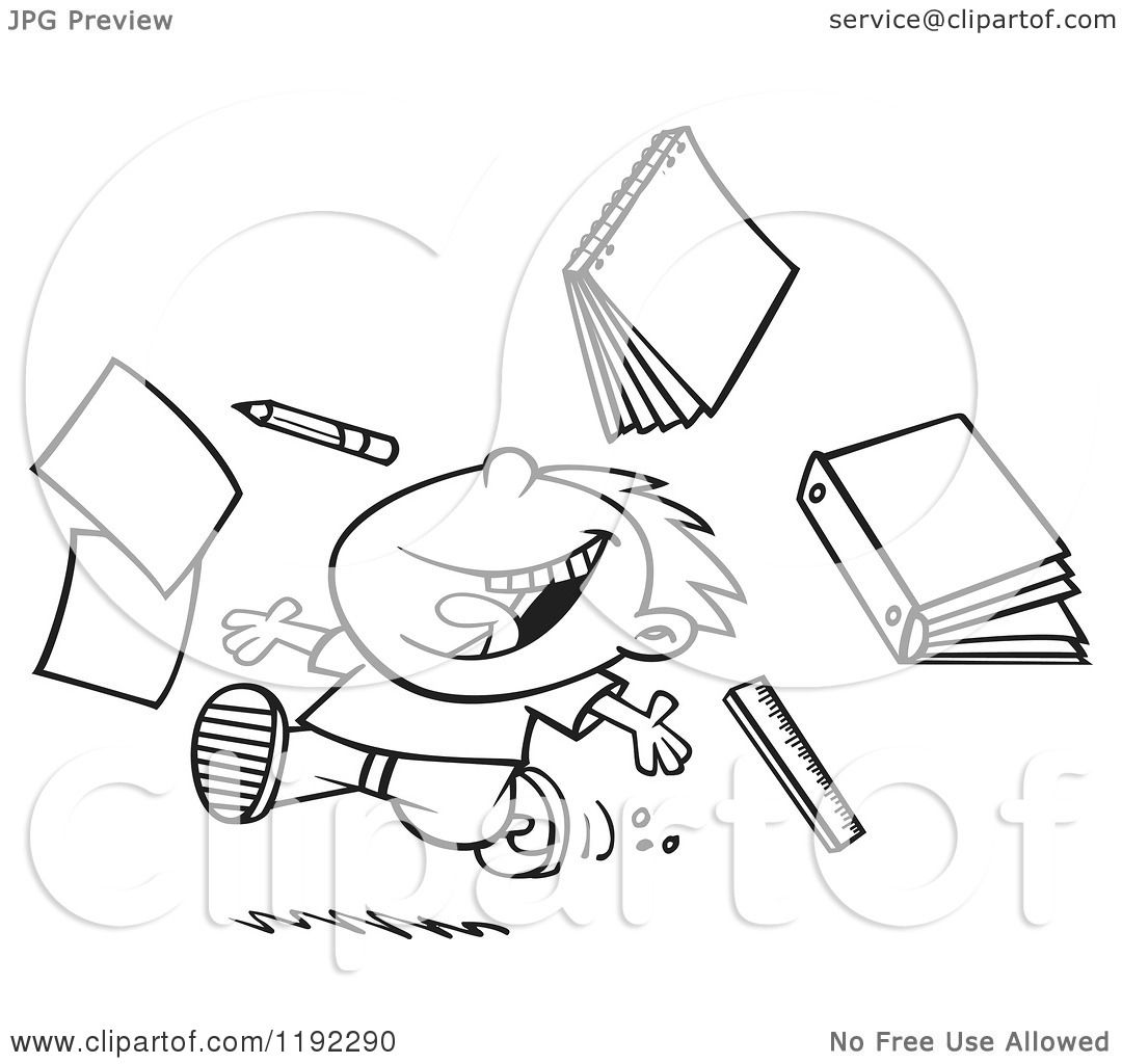Cartoon Black And White Line Art Of A Happy Boy Throwing