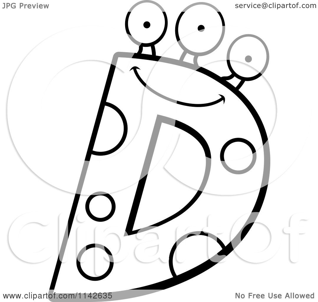 Cartoon Clipart Of A Black And White Alien Letter D