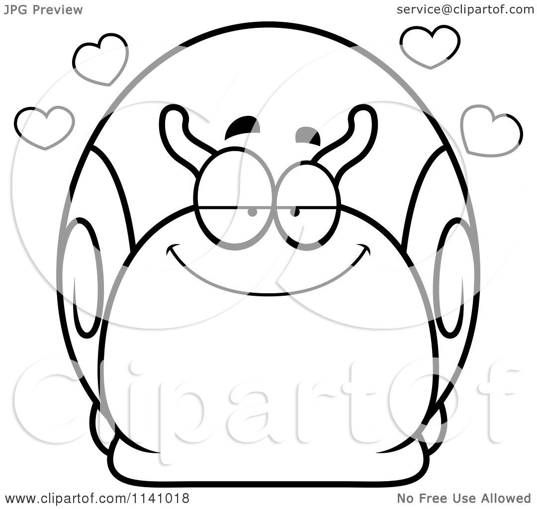 Cartoon Clipart Of A Black And White Amorous Snail