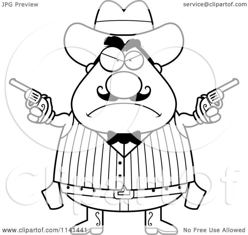 cartoon clipart of a black and white angry chubby male