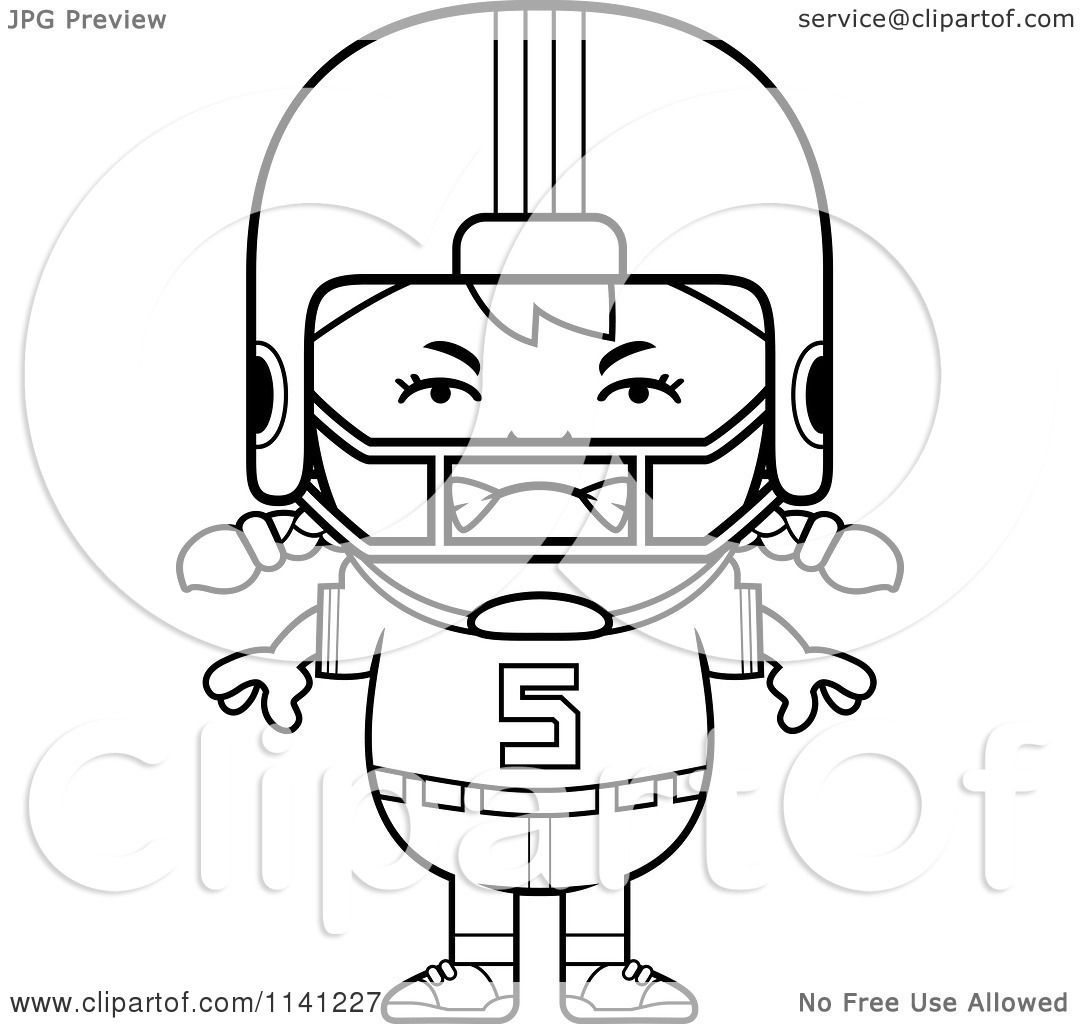 Cartoon Clipart Of A Black And White Angry Football Player