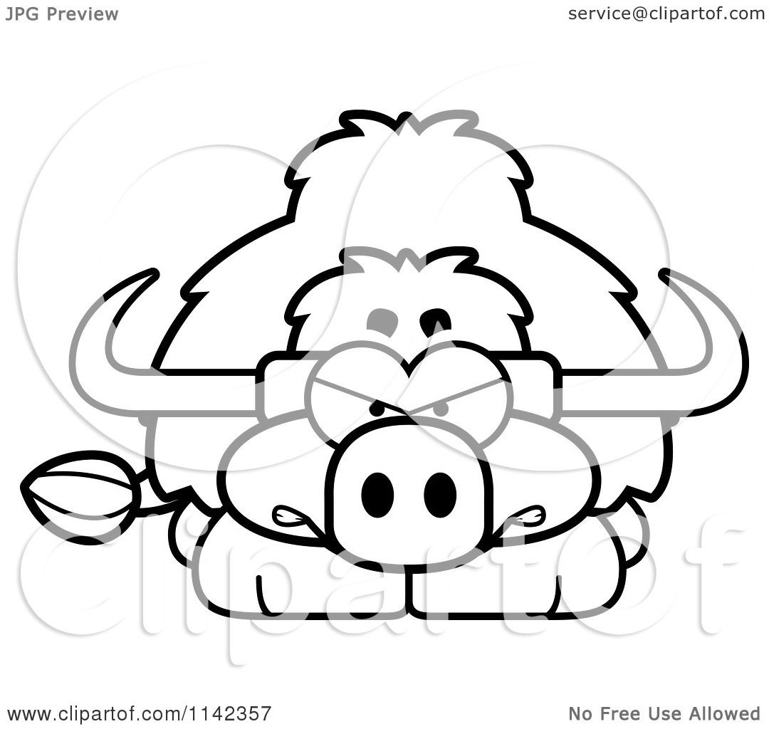 Cartoon Clipart Of A Black And White Angry Yak Vector Outlined