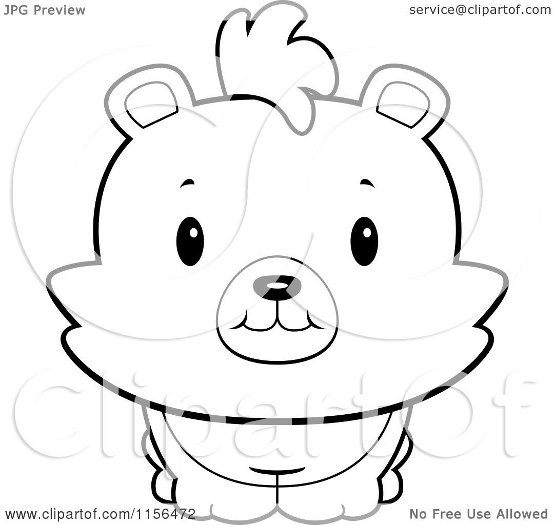 Cartoon Clipart Of A Black And White Baby Bear Smiling