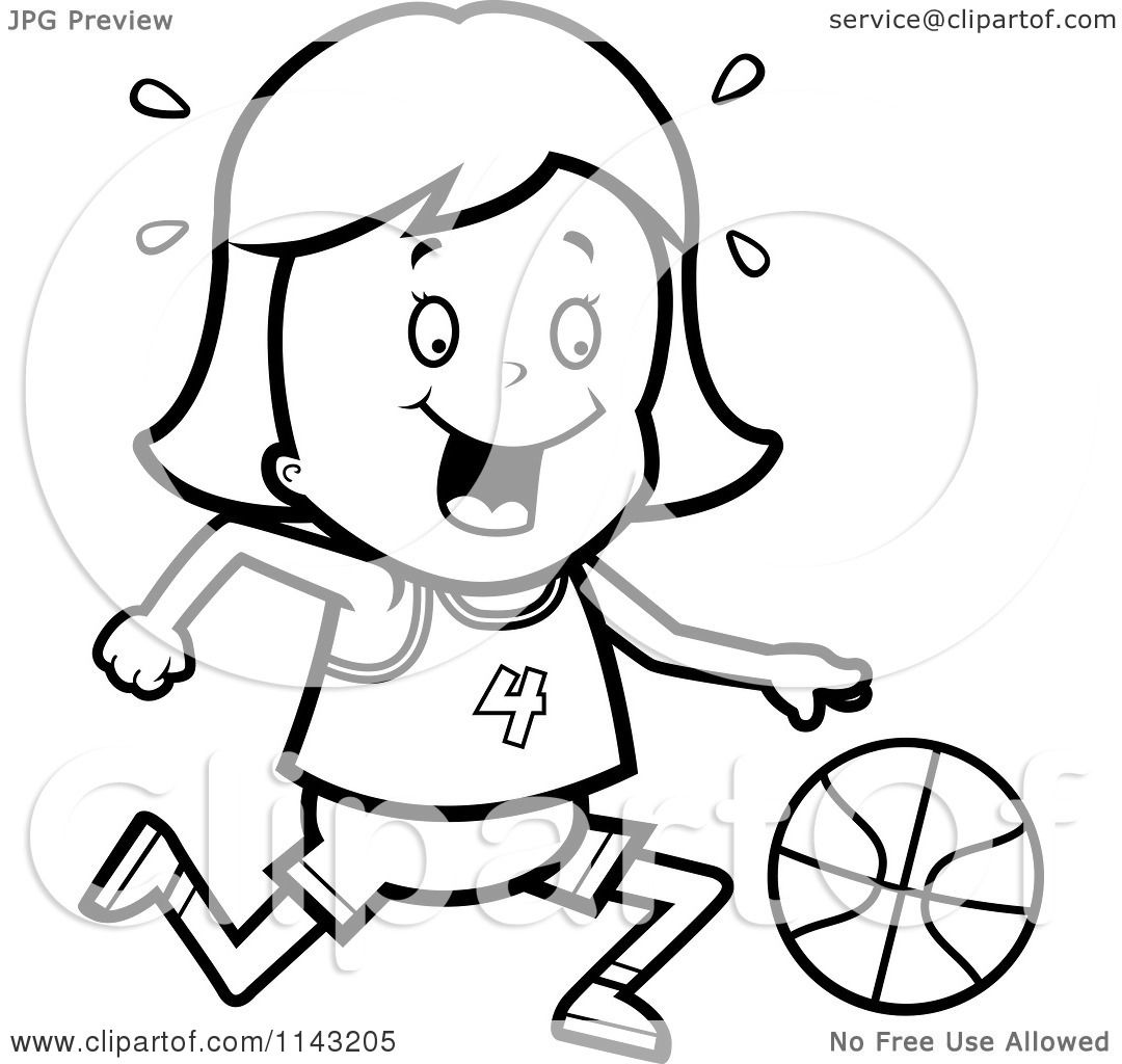 Cartoon Clipart Of A Black And White Basketball Girl Dribbling A Ball