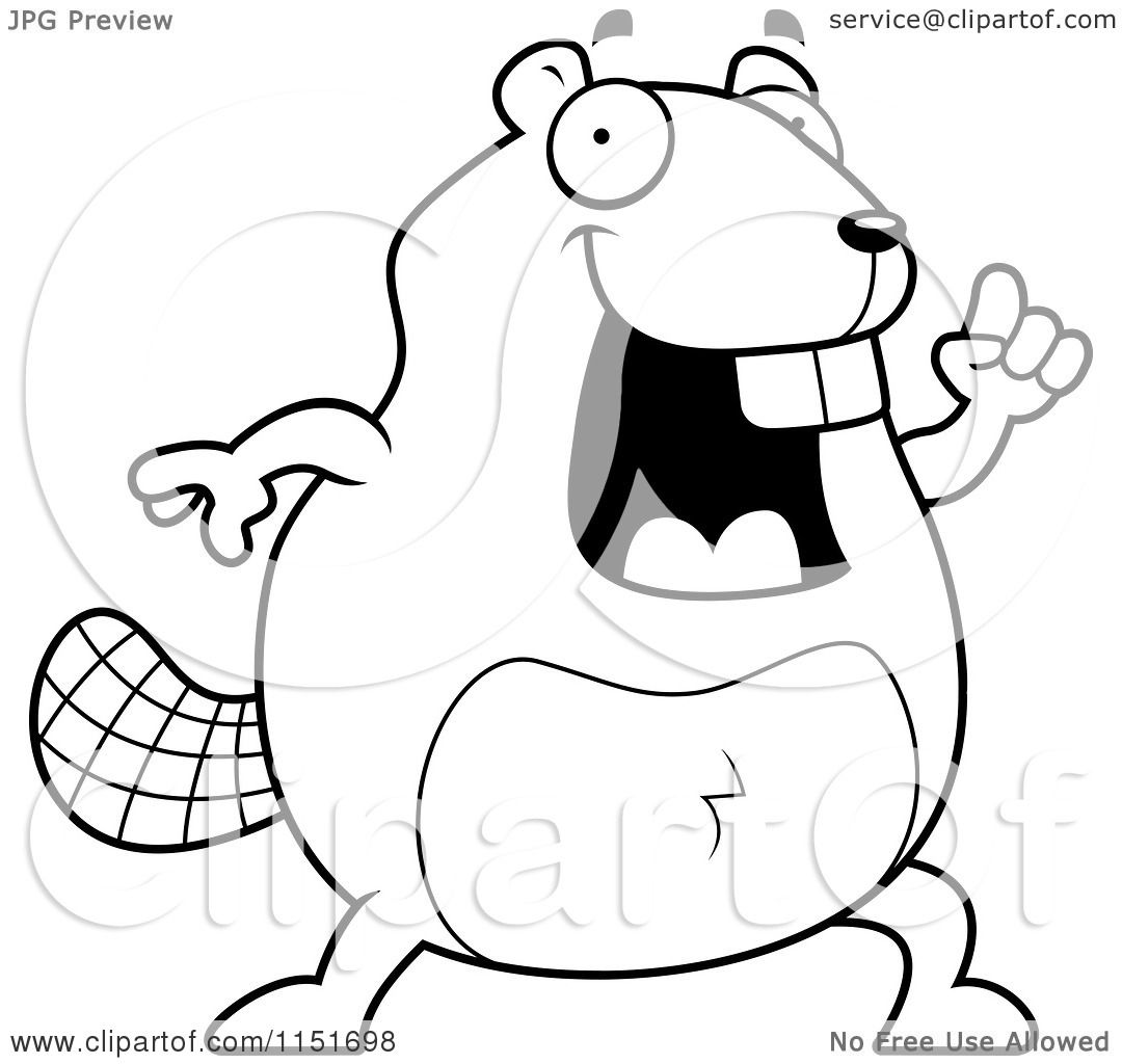 Cartoon Clipart Of A Black And White Beaver With An Idea