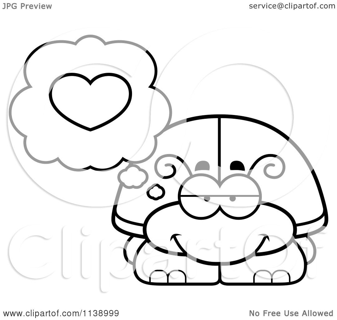 Cartoon Clipart Of A Black And White Beetle In Love