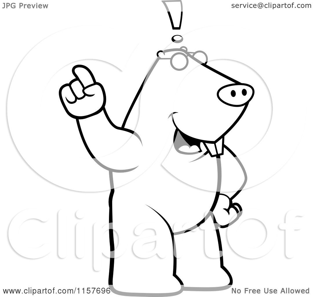 Cartoon Clipart Of A Black And White Big Mole Standing
