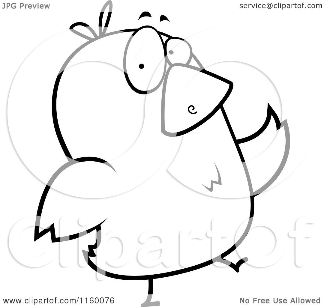 Cartoon Clipart Of A Black And White Bird Walking