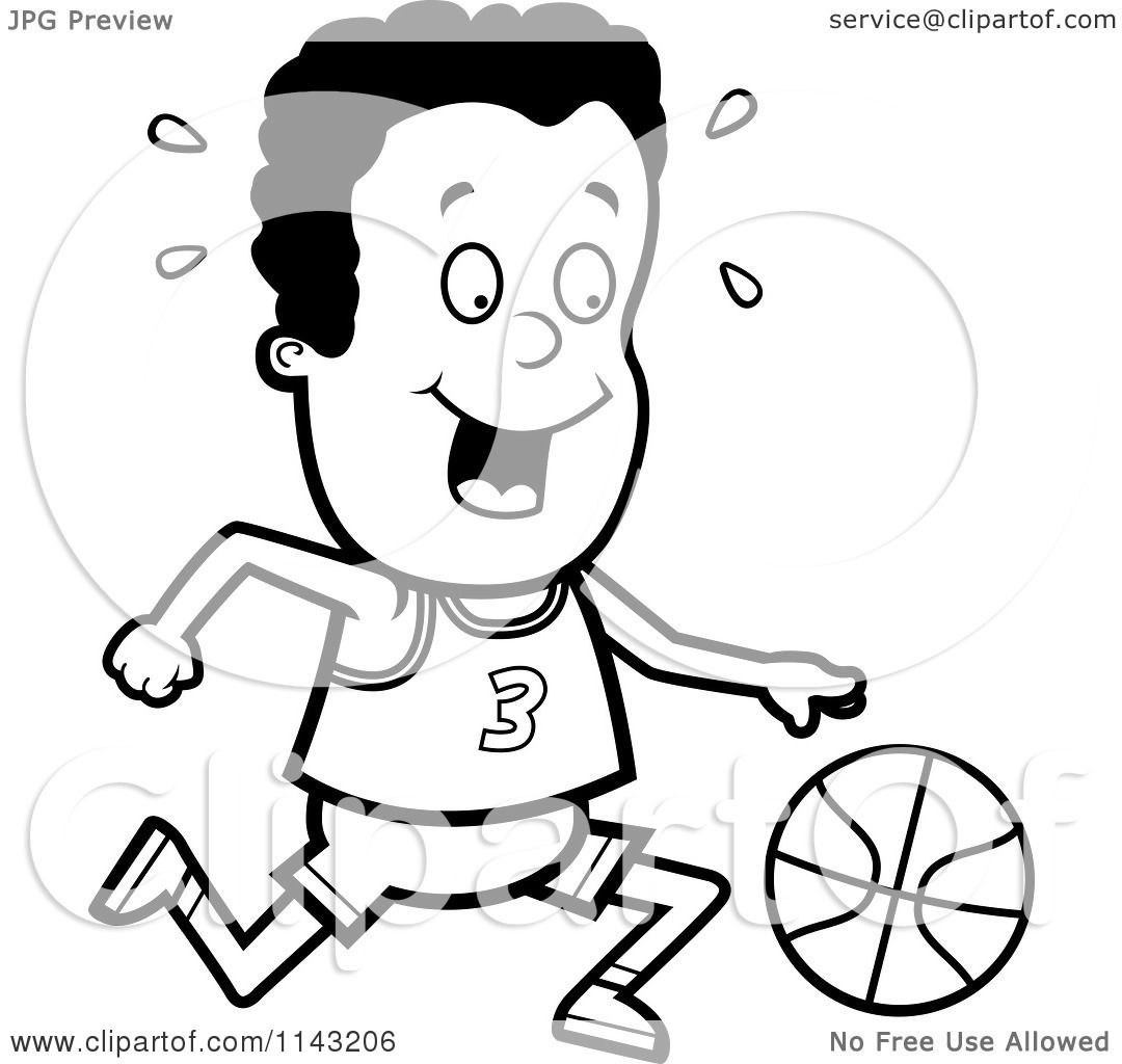 Cartoon Clipart Of A Black And White Black Basketball Boy Dribbling A Ball