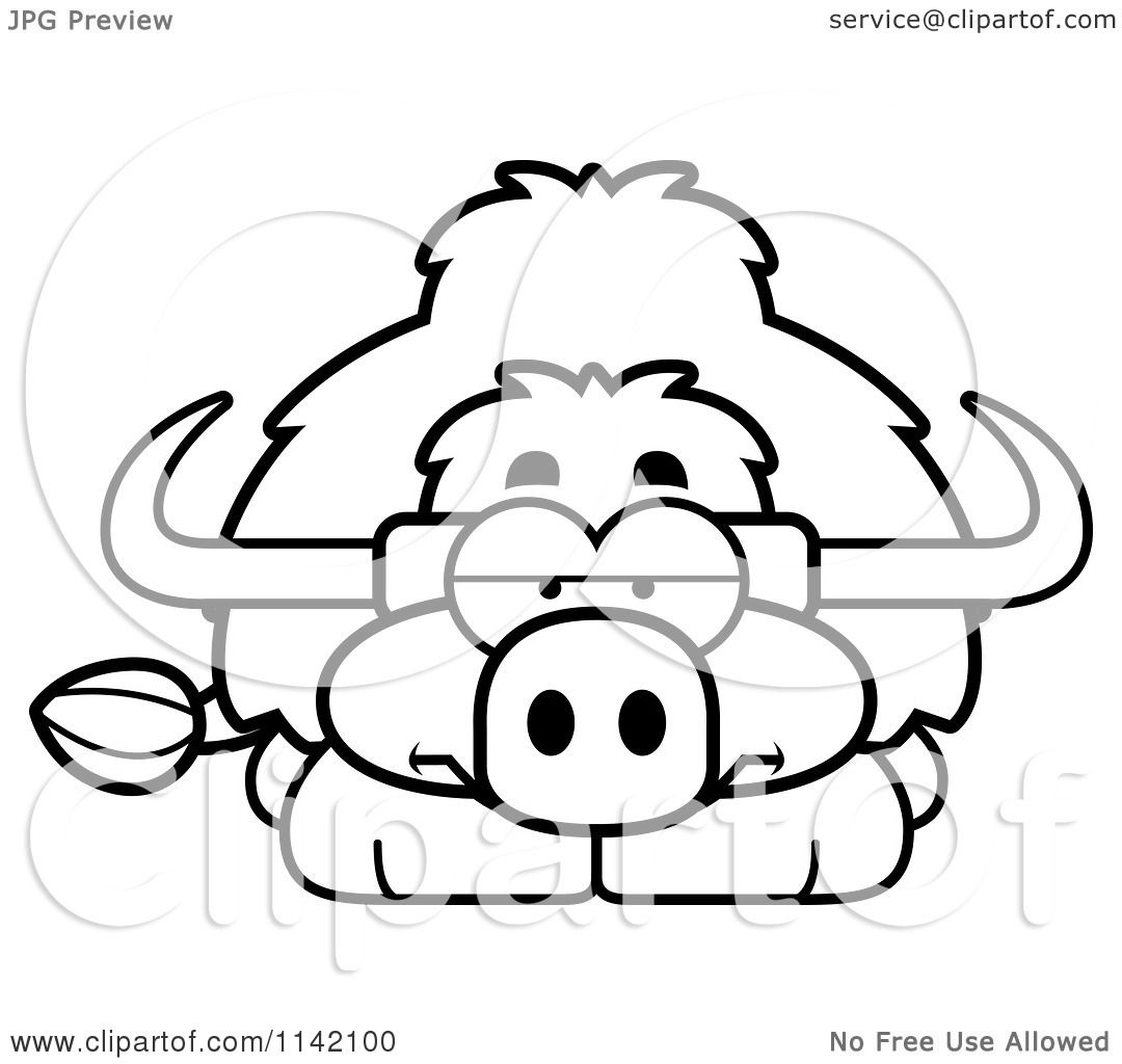 Cartoon Clipart Of A Black And White Bored Yak
