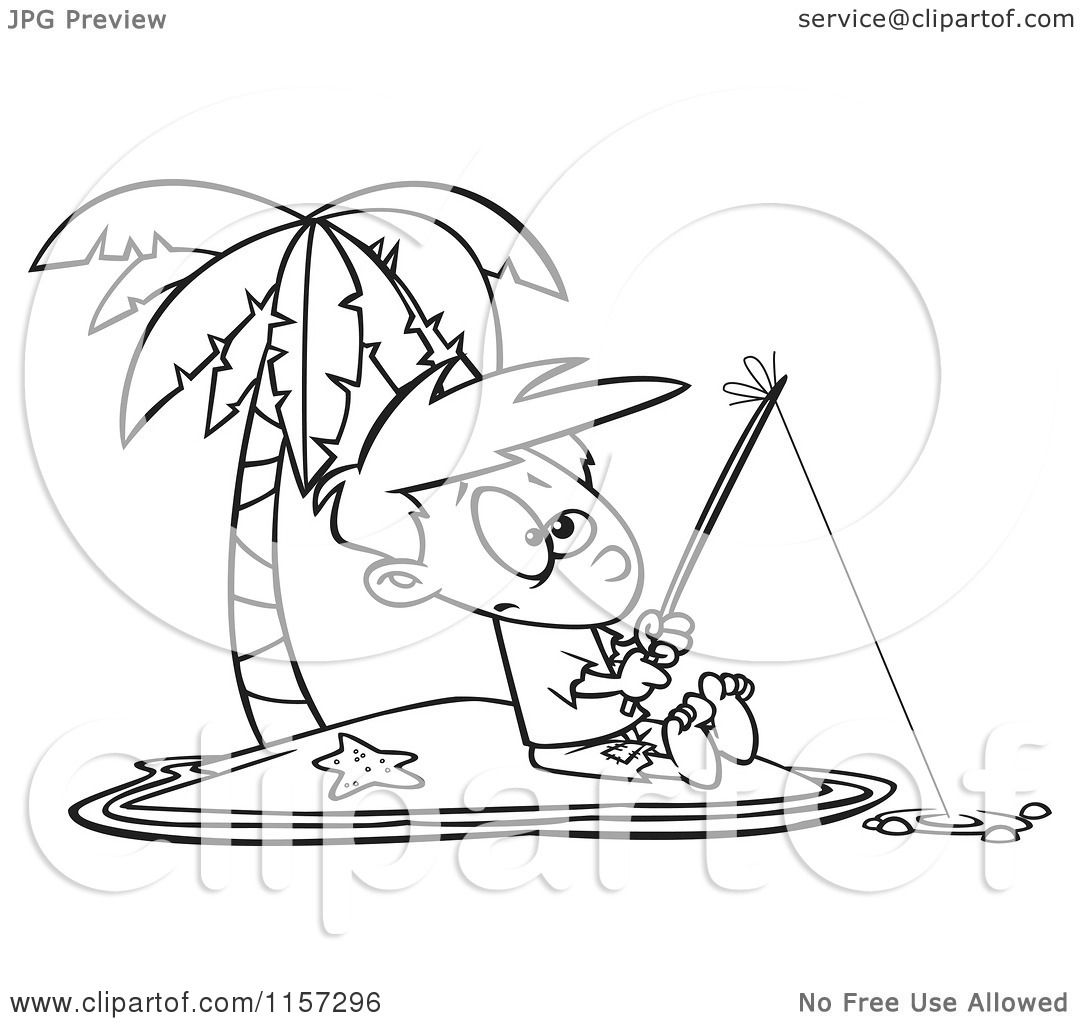Cartoon Clipart Of A Black And White Boy Fishing On A
