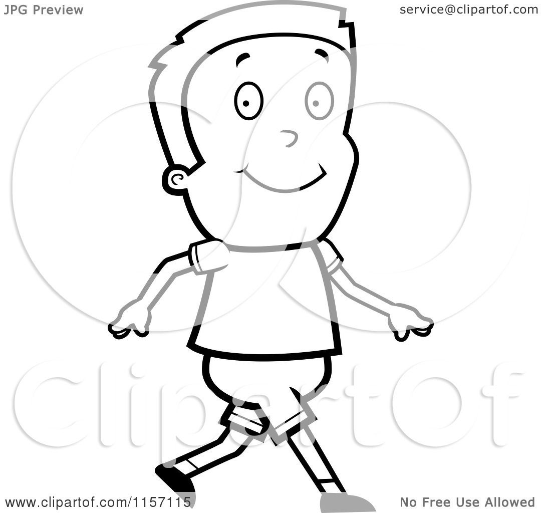 Cartoon Clipart Of A Black And White Boy Walking