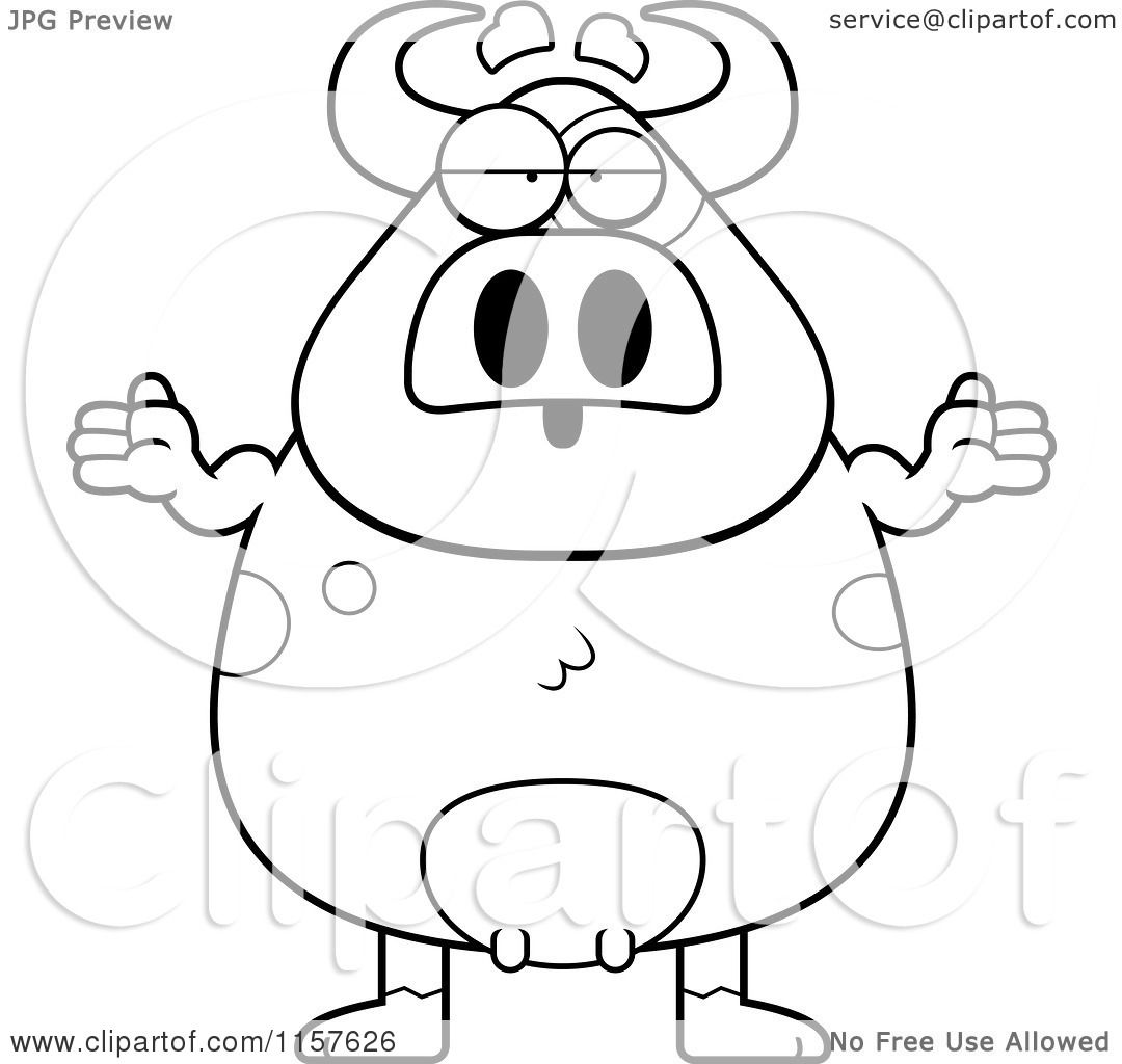 Cartoon Clipart Of A Black And White Careless Cow Shrugging