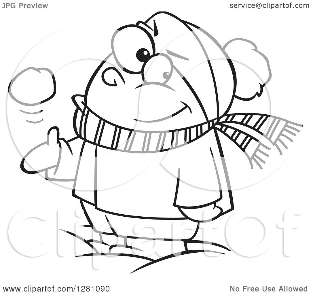 Cartoon Clipart Of A Black And White Cartoon Mischievous