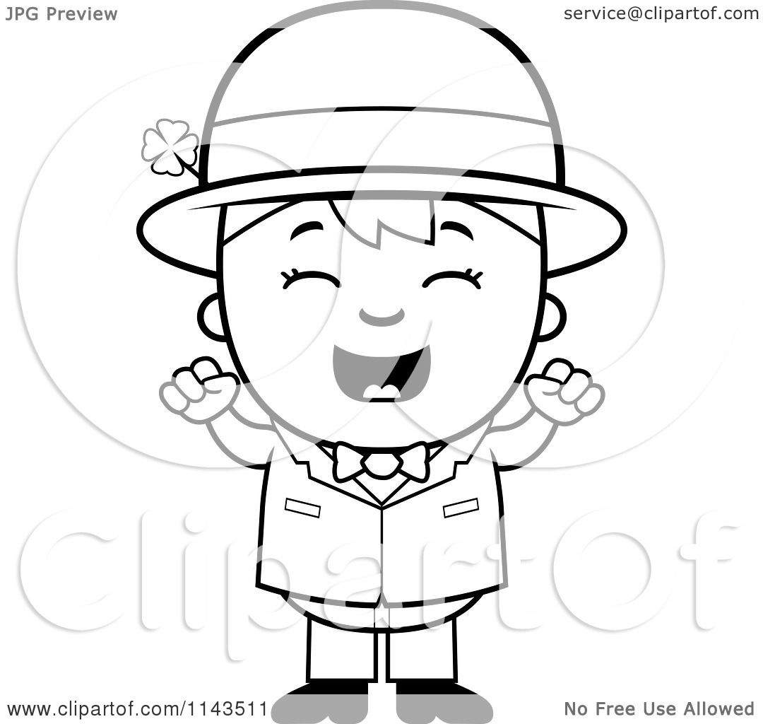 Cartoon Clipart Of A Black And White Cheering Child