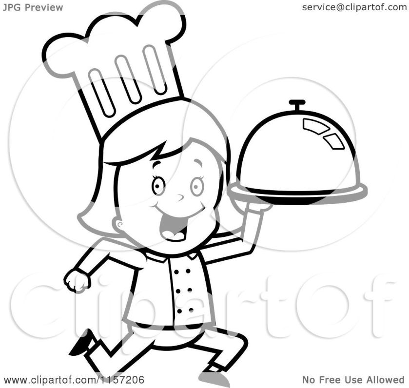 cartoon clipart of a black and white chef girl running