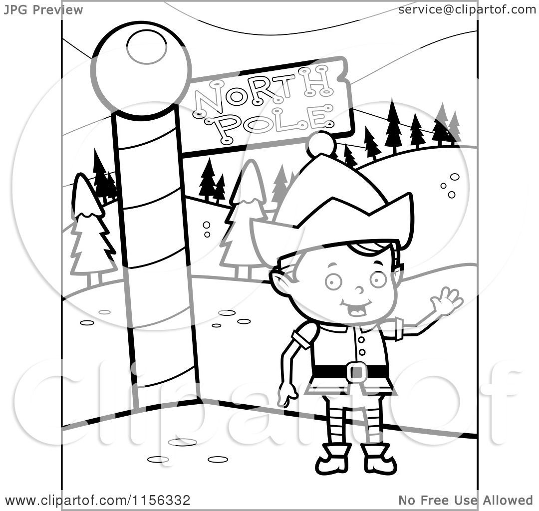 Cartoon Clipart Of A Black And White Christmas Elf Boy