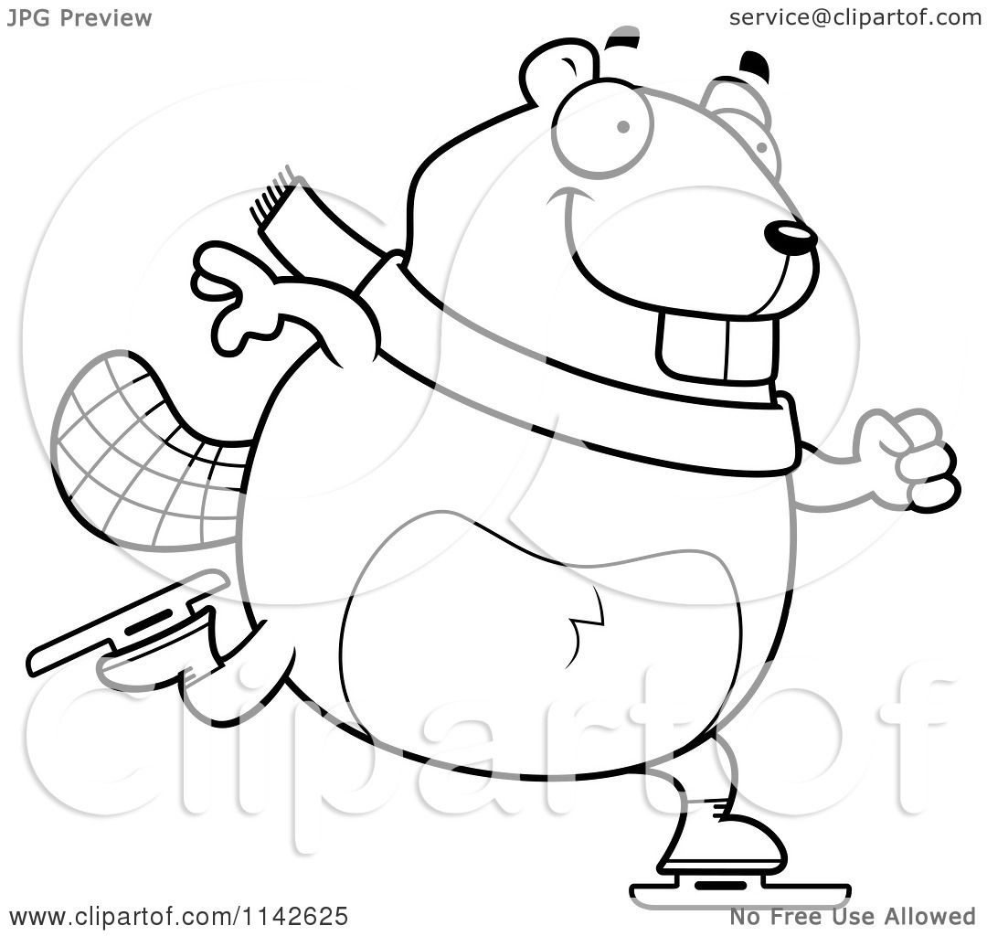 Cartoon Clipart Of A Black And White Chubby Beaver Ice