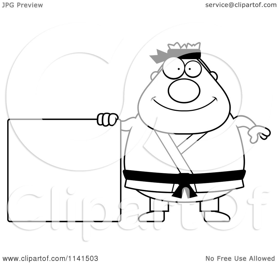 Cartoon Clipart Of A Black And White Chubby Black Belt
