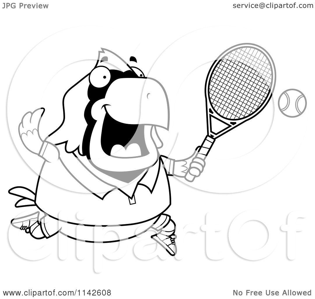 Cartoon Clipart Of A Black And White Chubby Cardinal