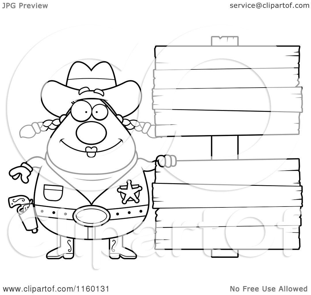 Cartoon Clipart Of A Black And White Chubby Cowgirl By