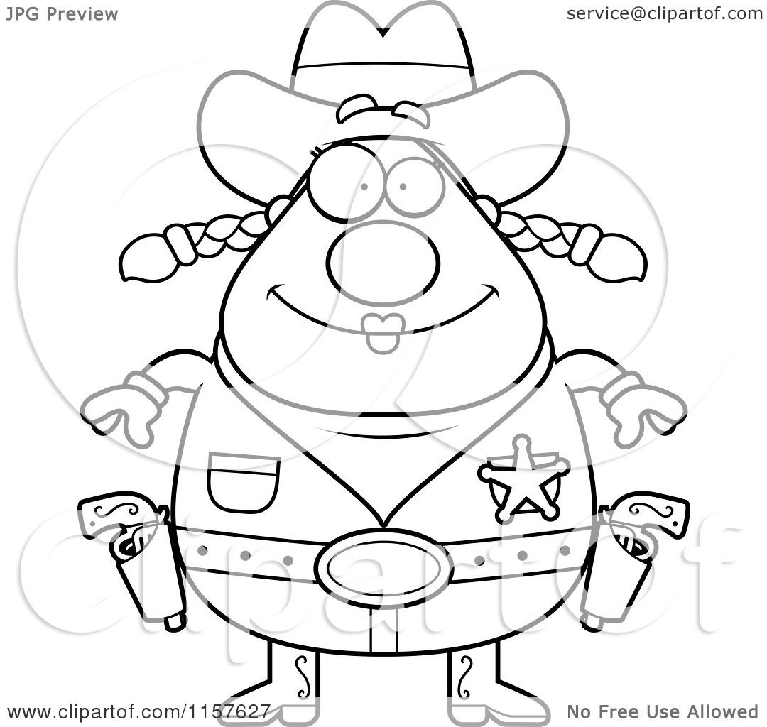 Cartoon Clipart Of A Black And White Chubby Female Cowgirl