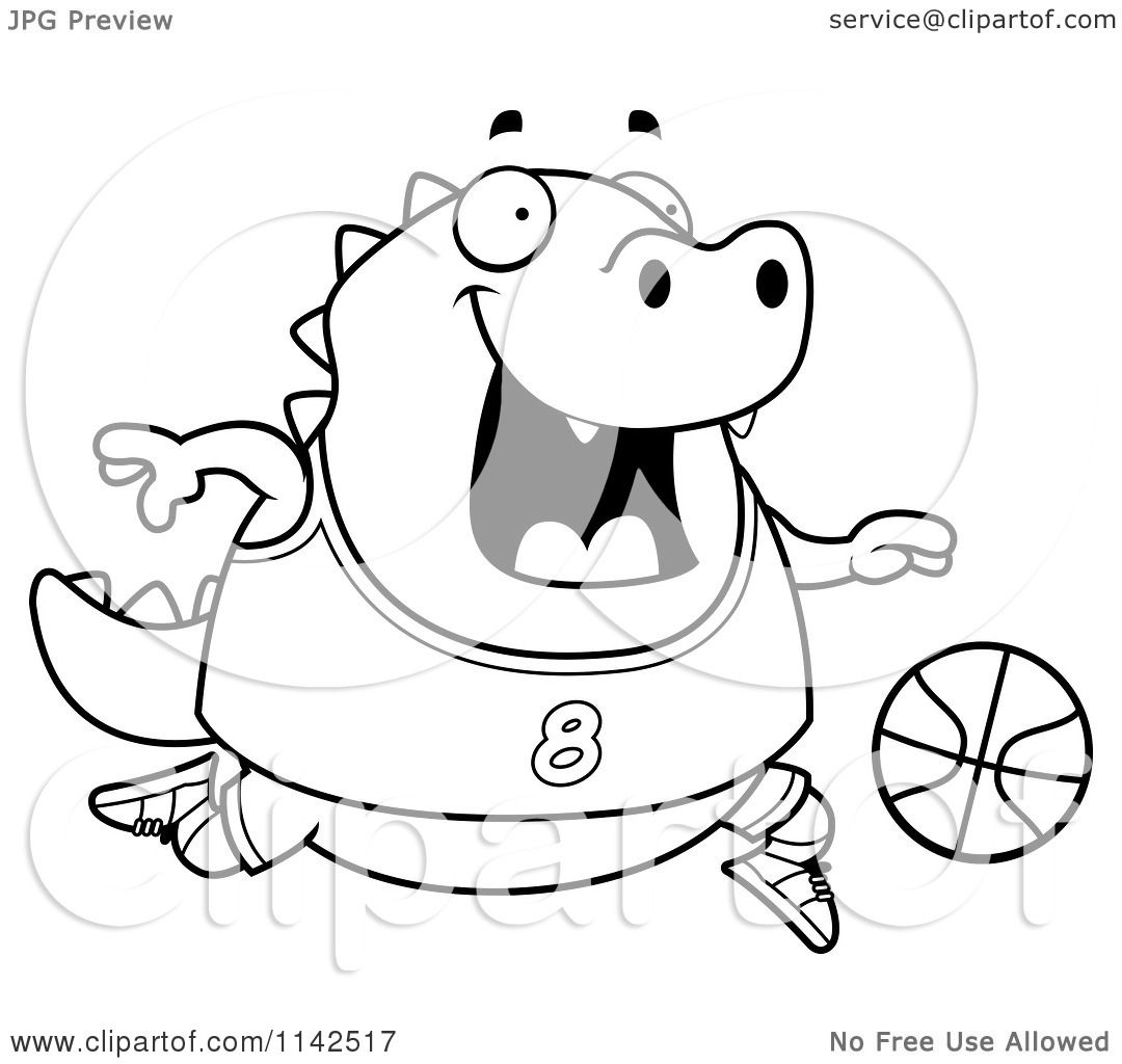 Cartoon Clipart Of A Black And White Chubby Lizard Playing Basketball
