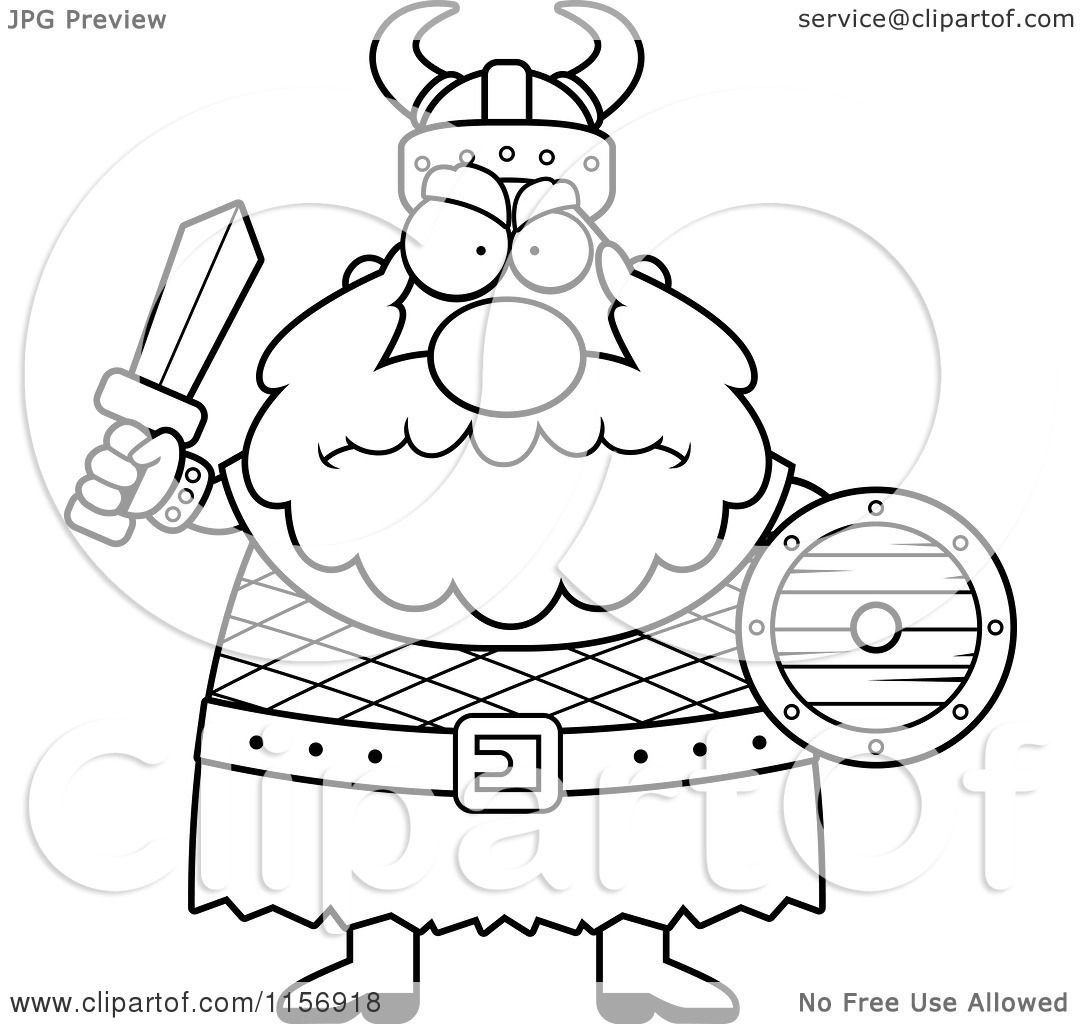Cartoon Clipart Of A Black And White Chubby Mad Viking Man