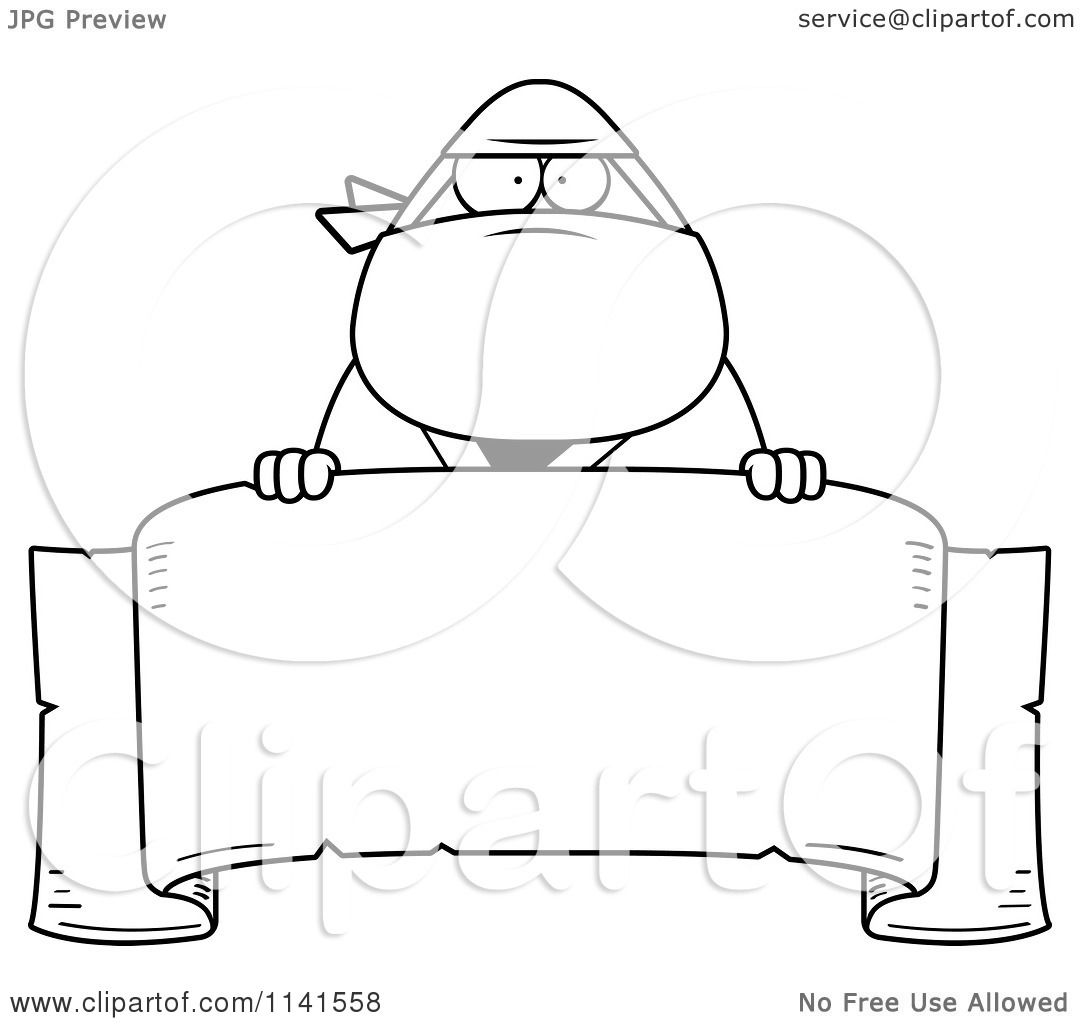 Cartoon Clipart Of A Black And White Chubby Ninja Man With
