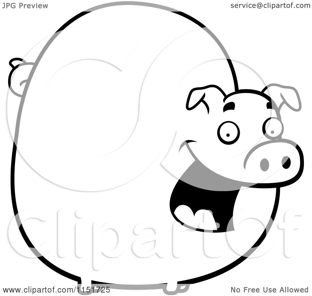 Fat Pig Clipart Black And White