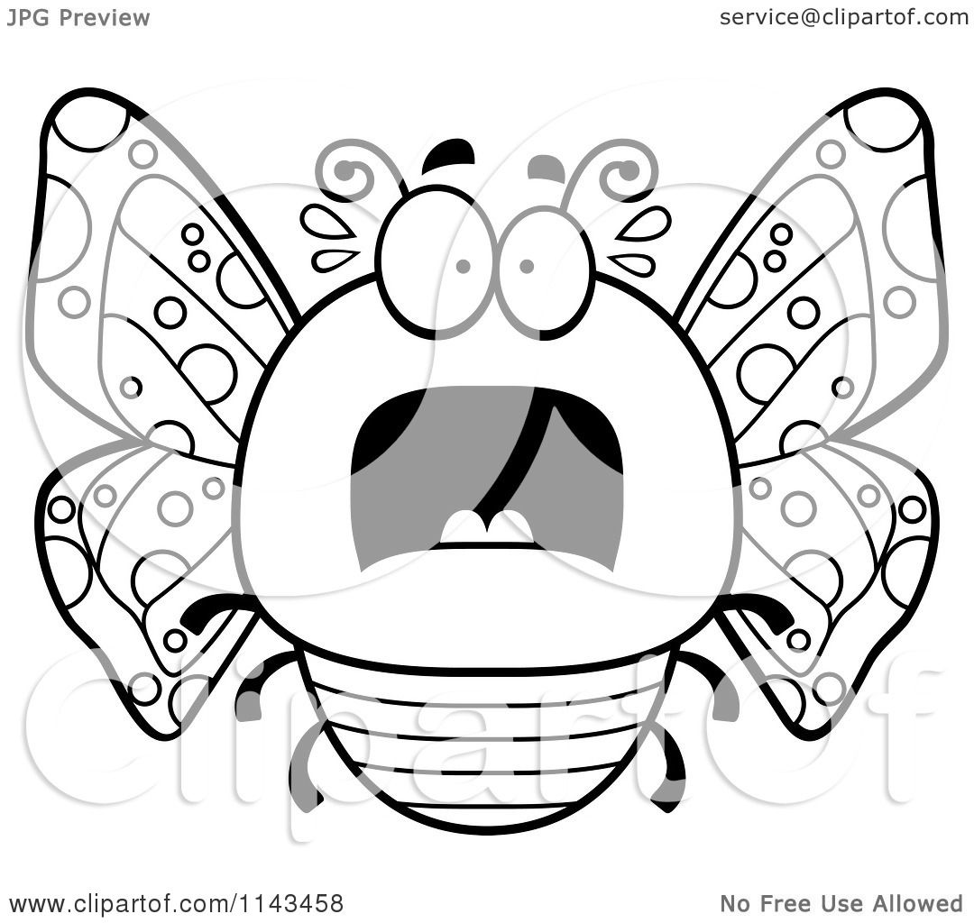 Cartoon Clipart Of A Black And White Chubby Scared Butterfly