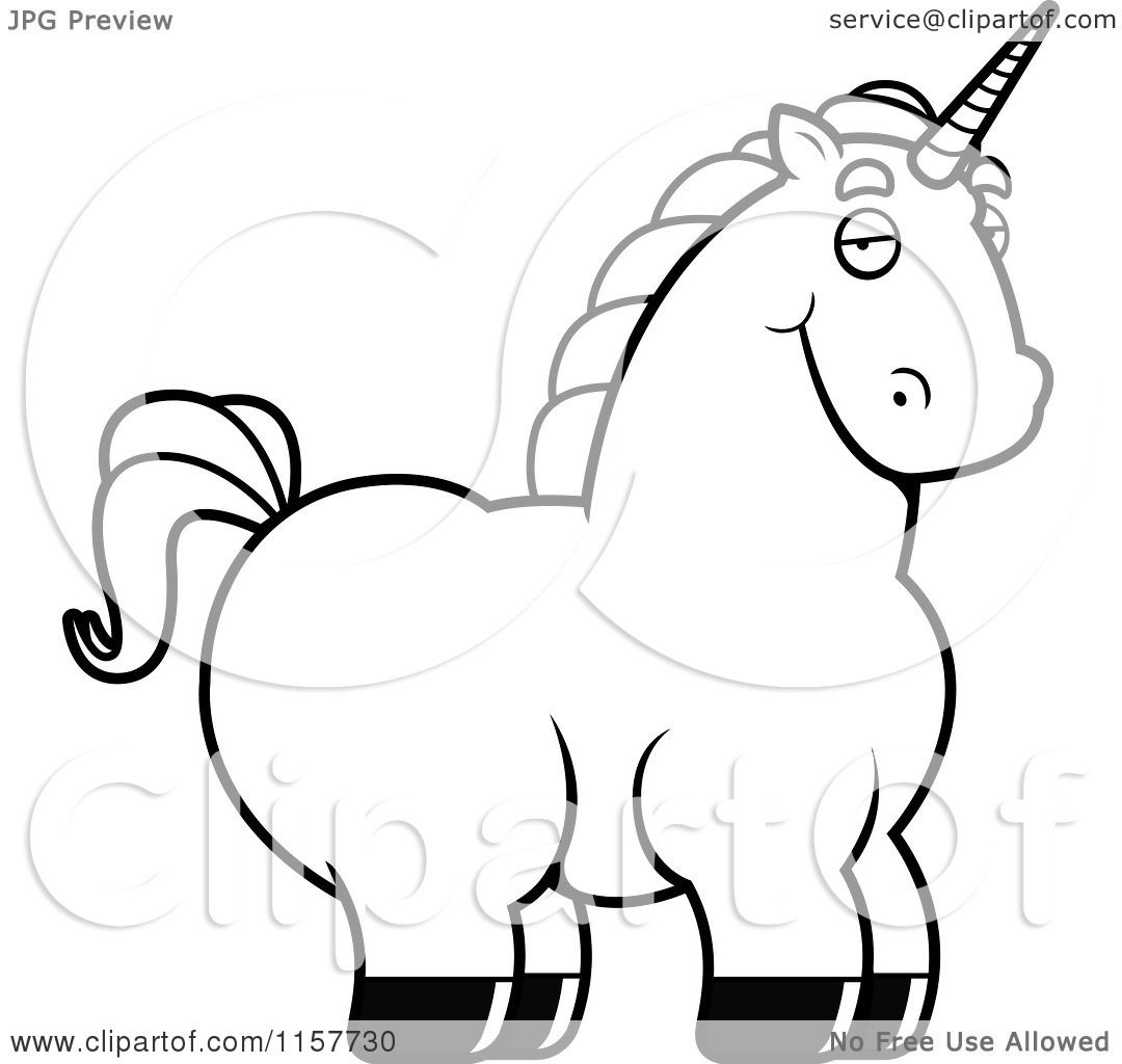 Cartoon Clipart Of A Black And White Chubby Unicorn