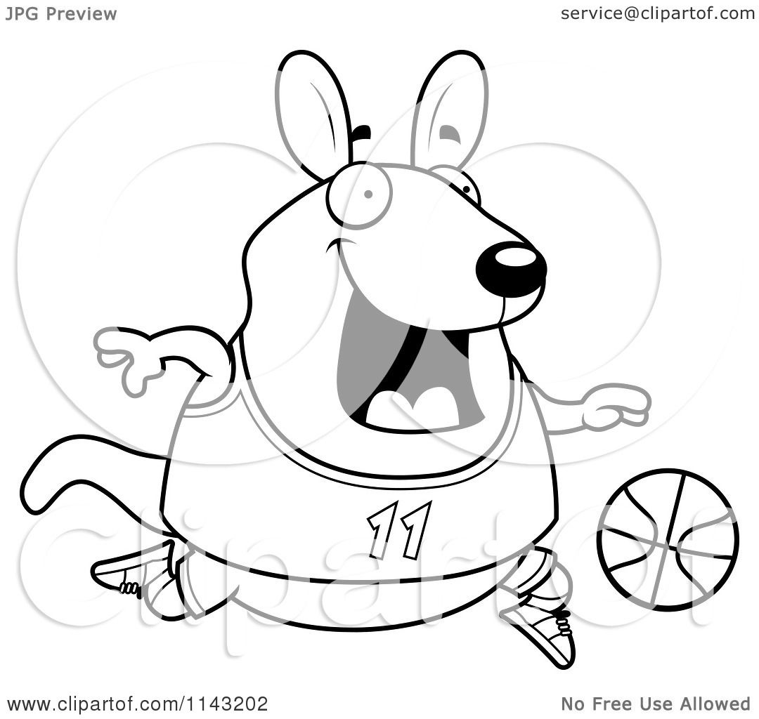 Cartoon Clipart Of A Black And White Chubby Wallaby Kangaroo Playing Basketball