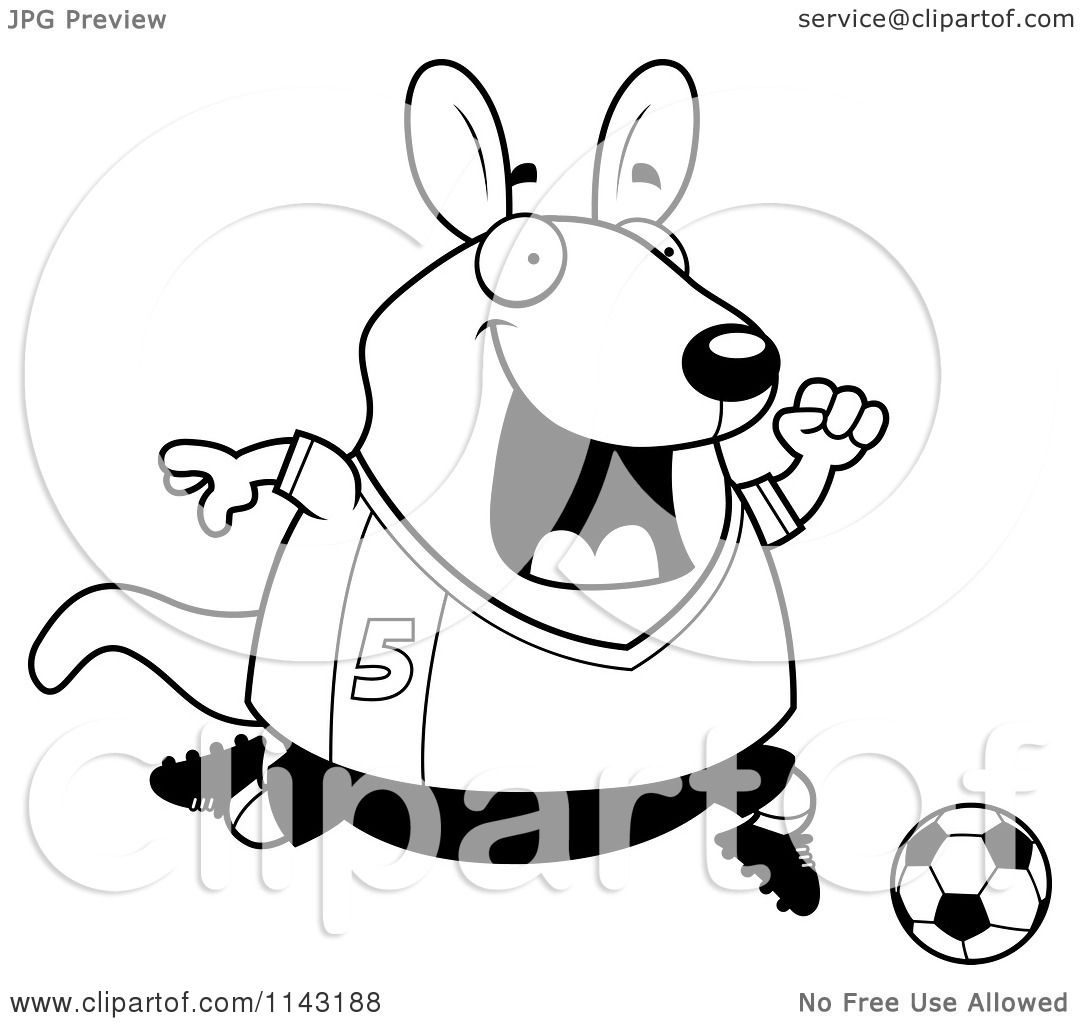 Cartoon Clipart Of A Black And White Chubby Wallaby Kangaroo Playing Soccer