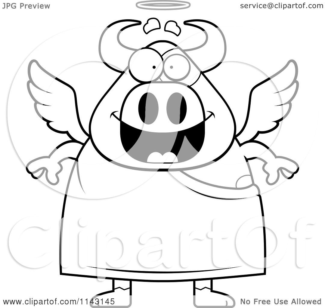 Cartoon Clipart Of A Black And White Cow Angel