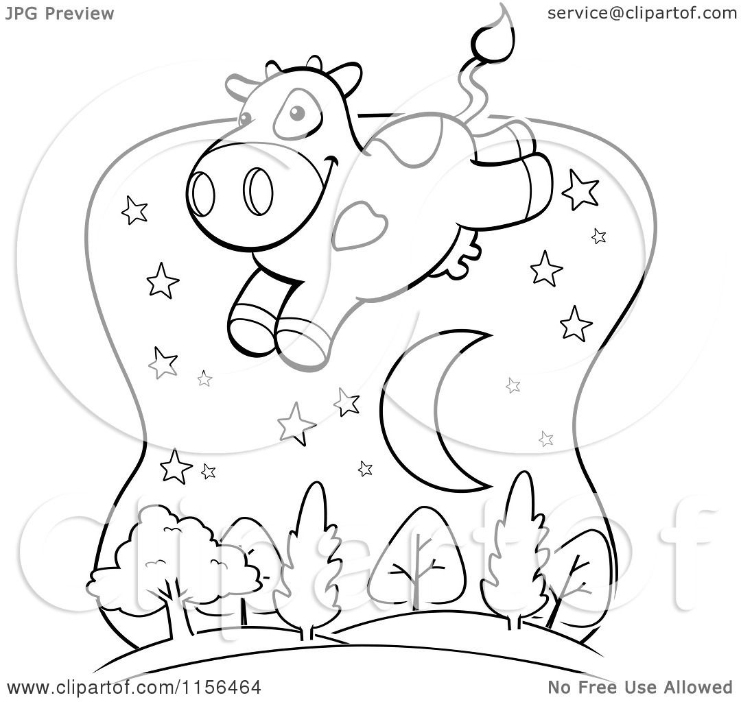 Cartoon Clipart Of A Black And White Cow Leaping Over A Crescent Moon And Trees