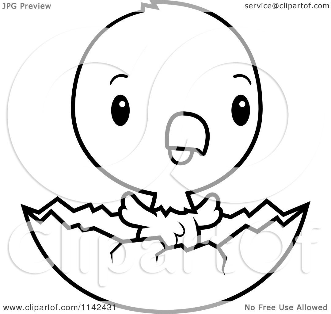 Cartoon Clipart Of A Black And White Cute Baby Bald American Eagle Chick Hatching