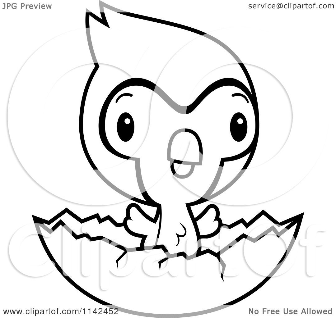 Cartoon Clipart Of A Black And White Cute Baby Bluejay Chick Hatching