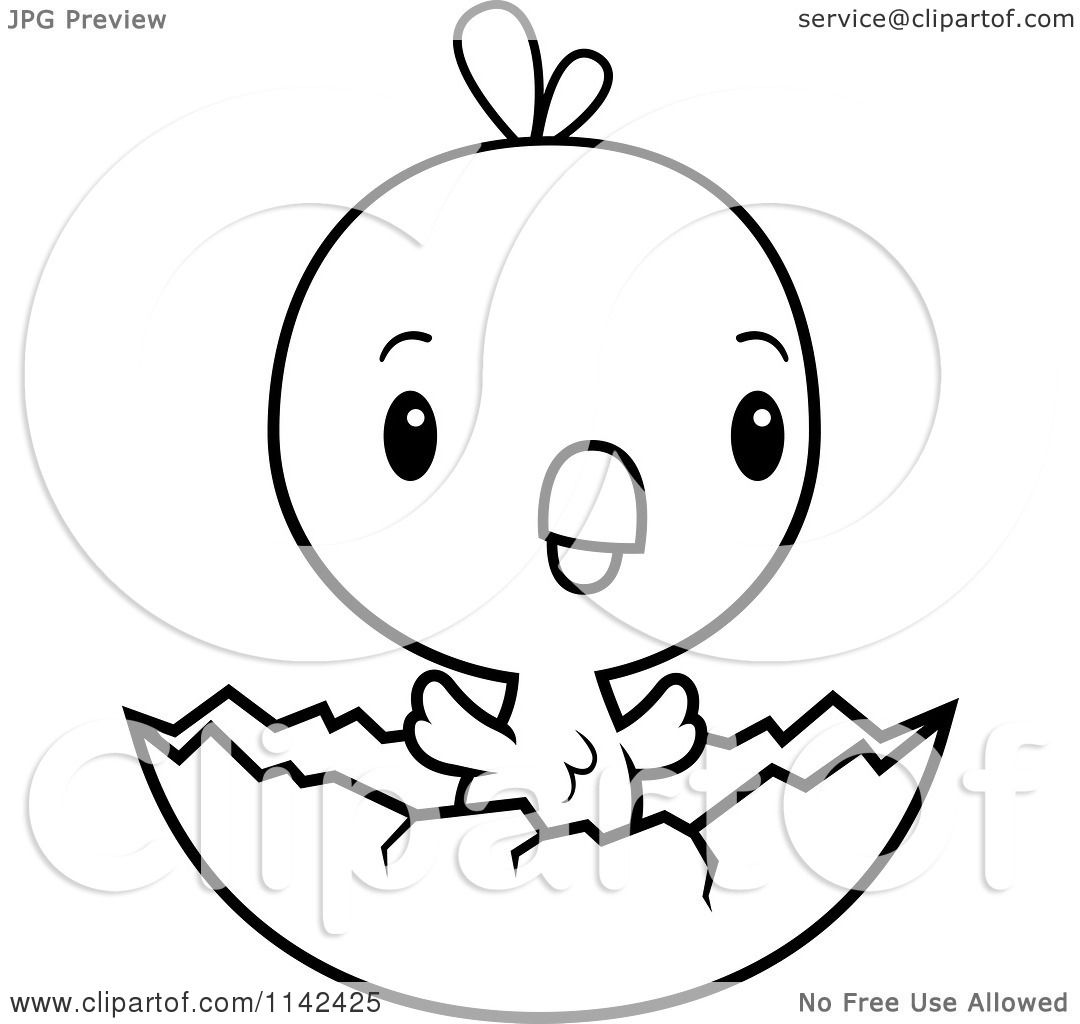 Cartoon Clipart Of A Black And White Cute Baby Chick Hatching