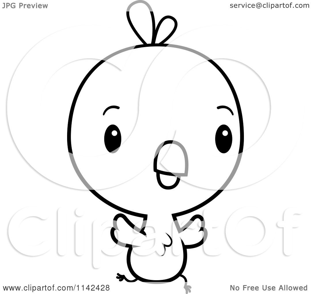Cartoon Clipart Of A Black And White Cute Baby Chick Running
