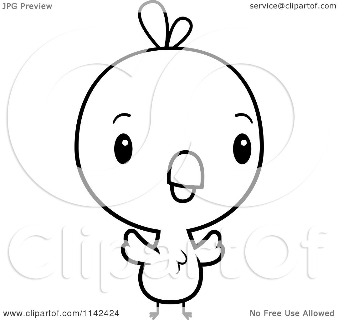 Cartoon Clipart Of A Black And White Cute Baby Chick