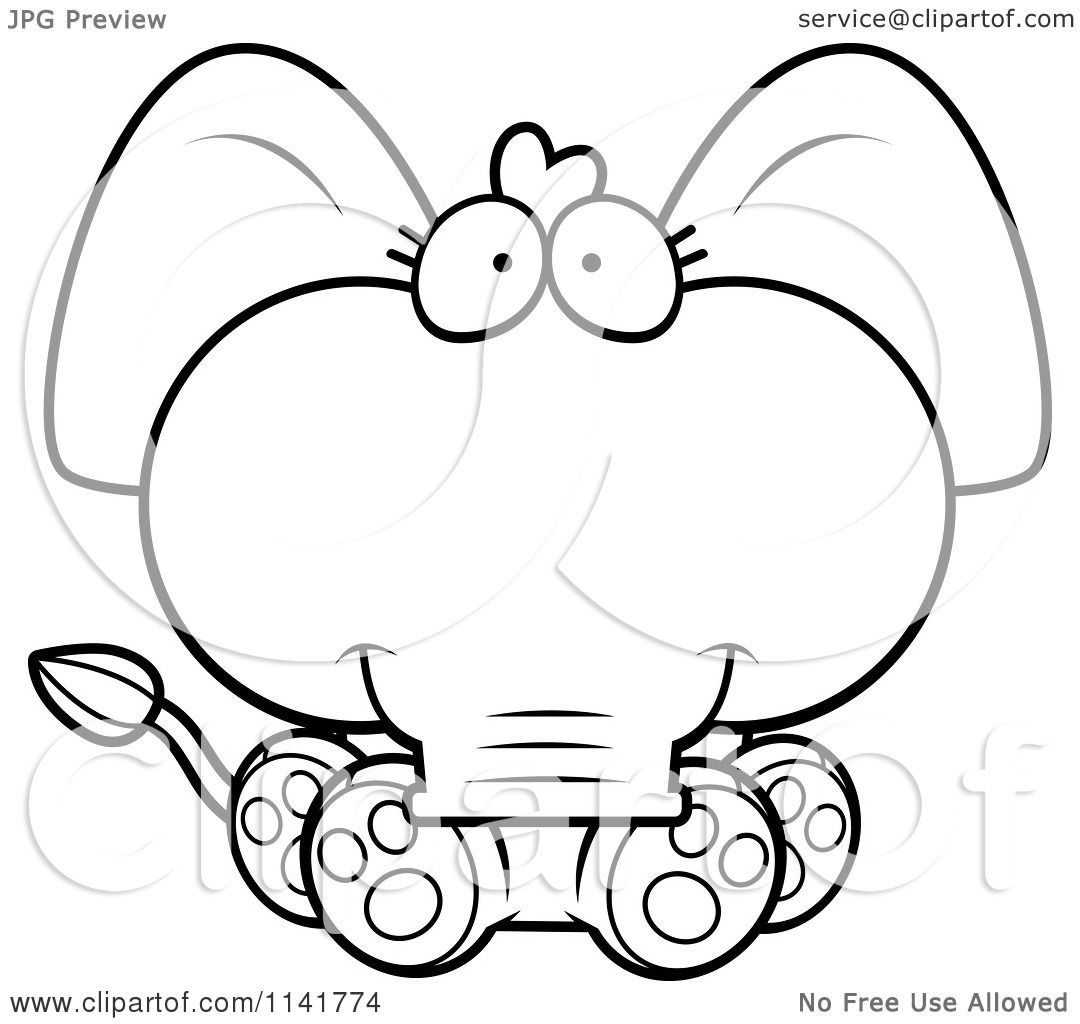 Cartoon Clipart Of A Black And White Cute Baby Elephant