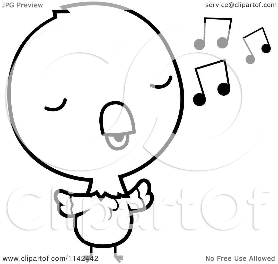 Cartoon Clipart Of A Black And White Cute Baby Parrot