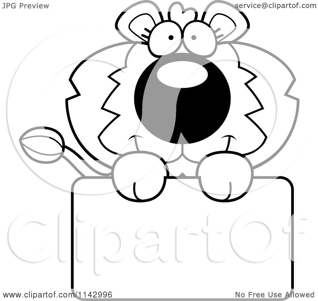 Cartoon Clipart Of A Black And White Cute Lion Holding A