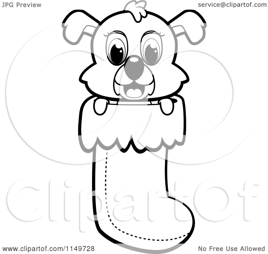 Cartoon Clipart Of A Black And White Cute Puppy Dog
