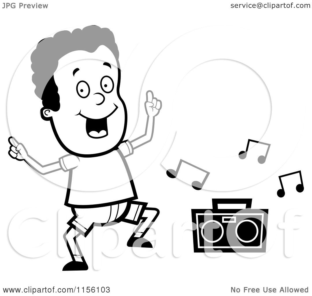 Cartoon Clipart Of A Black And White Dancing African American Boy Character With A Boom Box