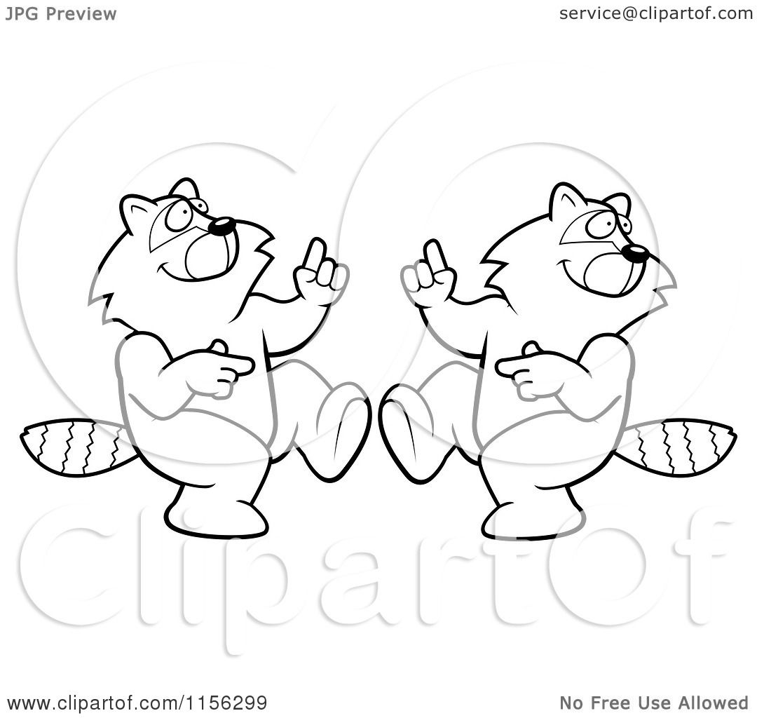 Cartoon Clipart Of A Black And White Digital Collage Of A Dancing Raccoon In Different Poses