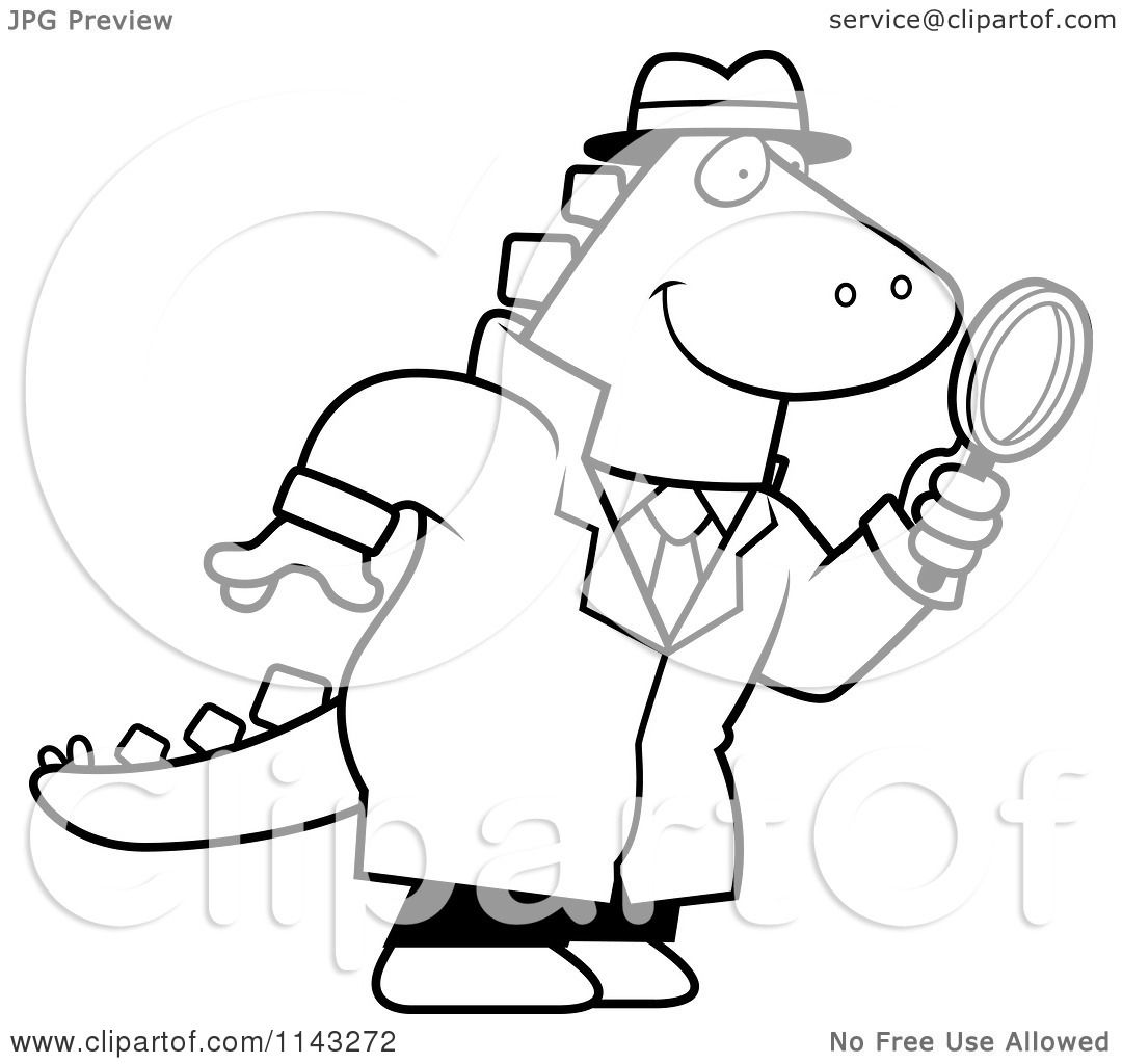 Cartoon Clipart Of A Black And White Dinosaur Detective