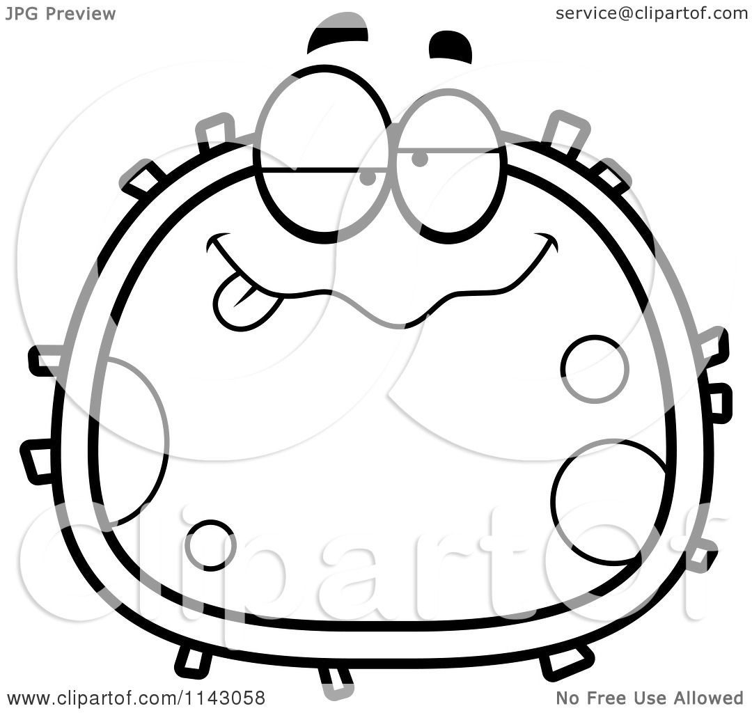 Cartoon Clipart Of A Black And White Drunk Blood Cell