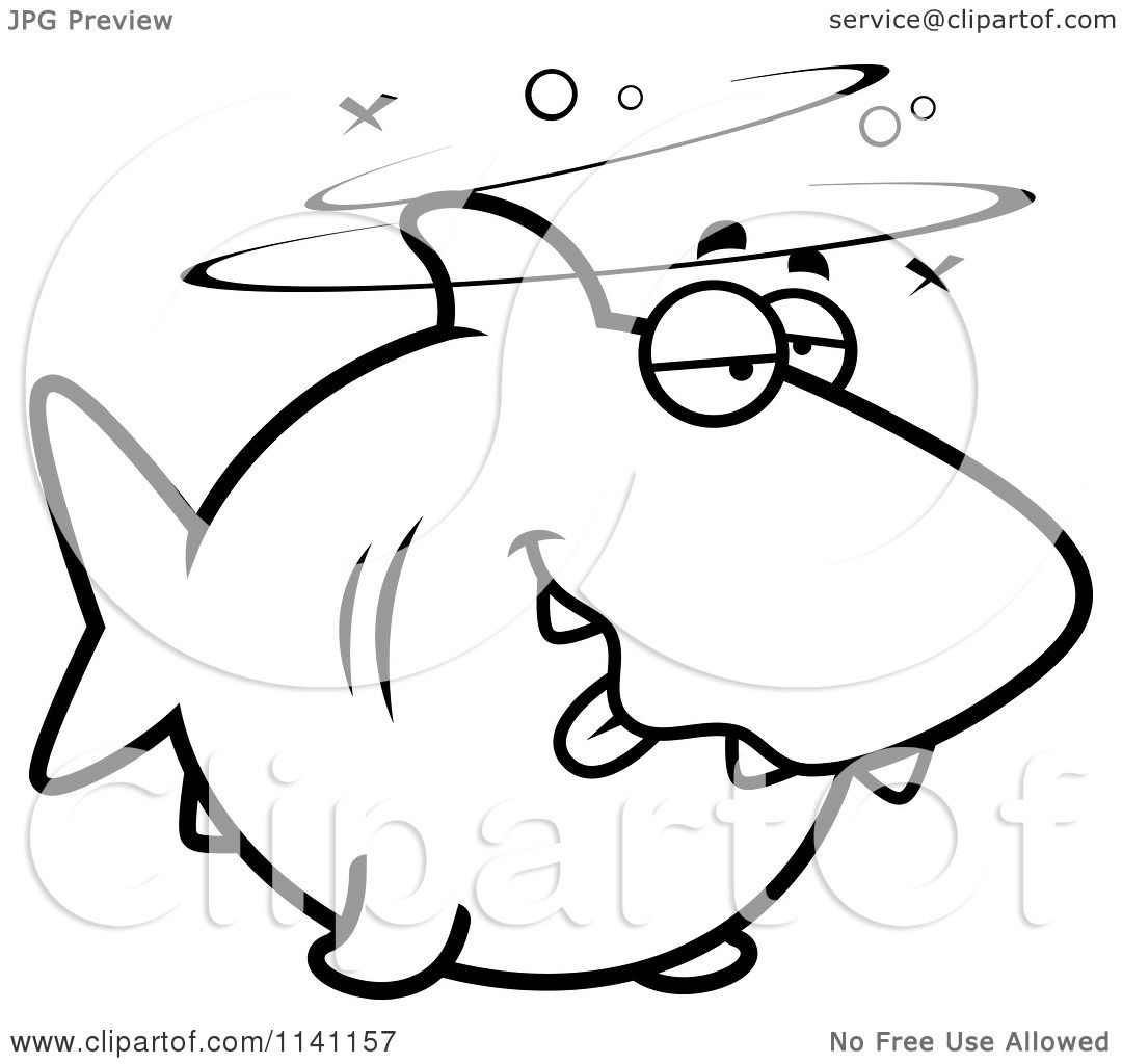 Cartoon Clipart Of A Black And White Drunk Shark